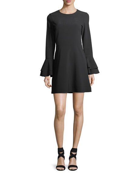 Orlando Jewel-Neck Trumpet-Sleeve Mini Dress