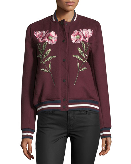 Pacifico Embroidered Wool Varsity Jacket