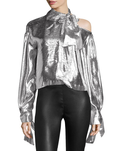 Harjava Tie-Neck Cold-Shoulder Metallic Top