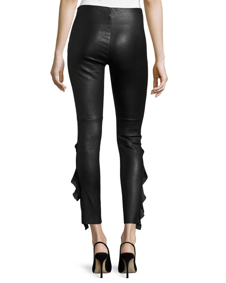 Cardash Lamb Leather Skinny Pants w/ Side Ruffle