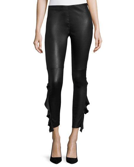 Iro Cardash Lamb Leather Skinny Pants w/ Side