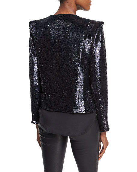 Waklyn Long-Sleeve Sequin Jacket w/ Flaps