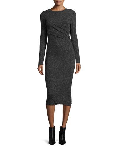 Napinka Crewneck Long-Sleeve Cotton-Blend Midi Dress