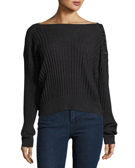 Takavol Boat-Neck Long-Sleeve Ribbed Sweater