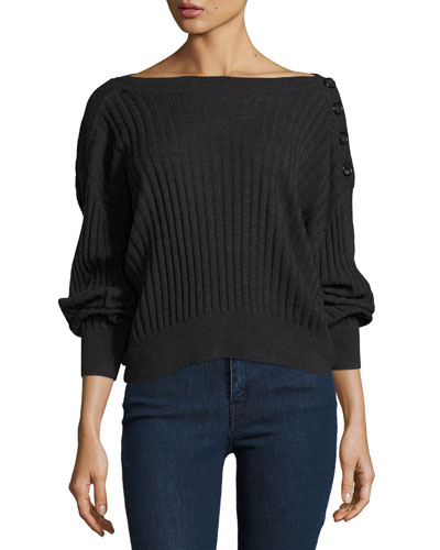 Takavol Boat-Neck Long-Sleeve Ribbed Sweater