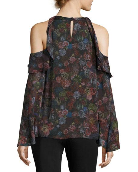 Ciclan Cold-Shoulder Floral-Print Silk Top