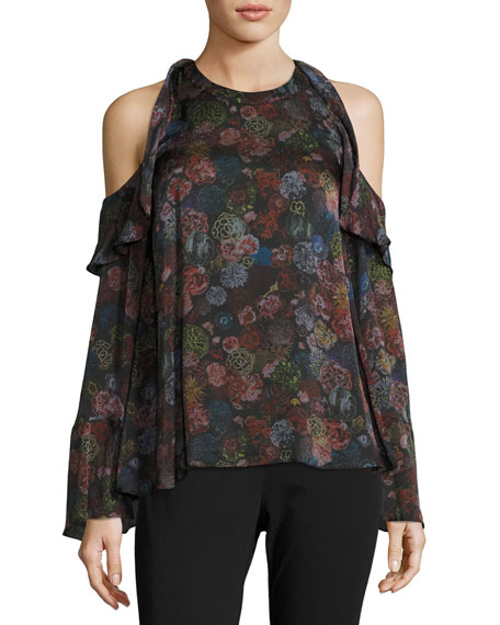 Iro Ciclan Cold-Shoulder Floral-Print Silk Top