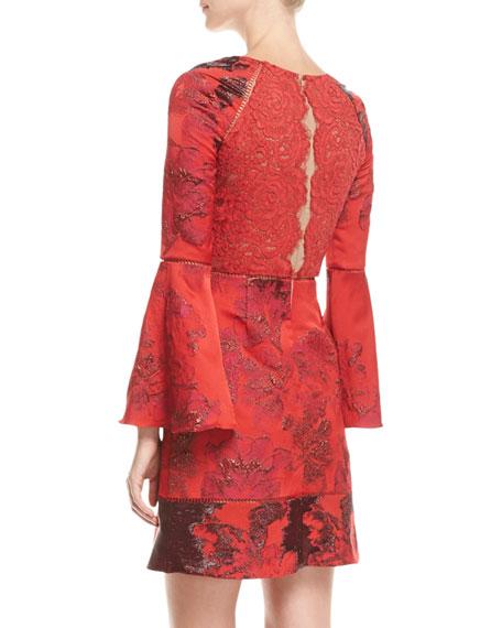 Metallic Brocade A-line Cocktail Dress w/ Lace