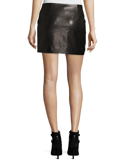 Mupper Studded Leather Wrap Mini Skirt