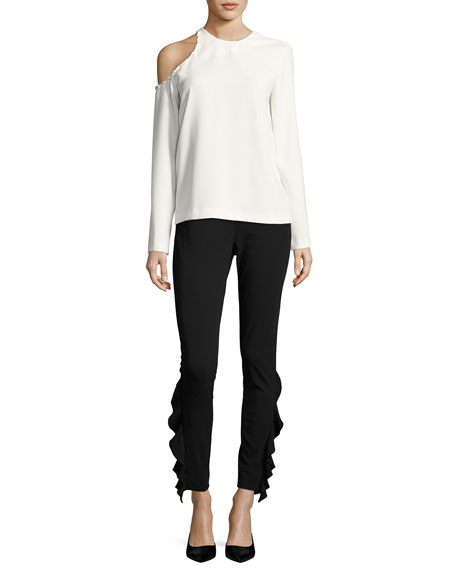 Bherock Cold-Shoulder Long-Sleeve Crepe Top