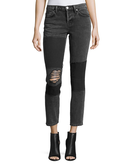 Iro Lep Mid-Rise Patched Distressed Skinny Jeans and