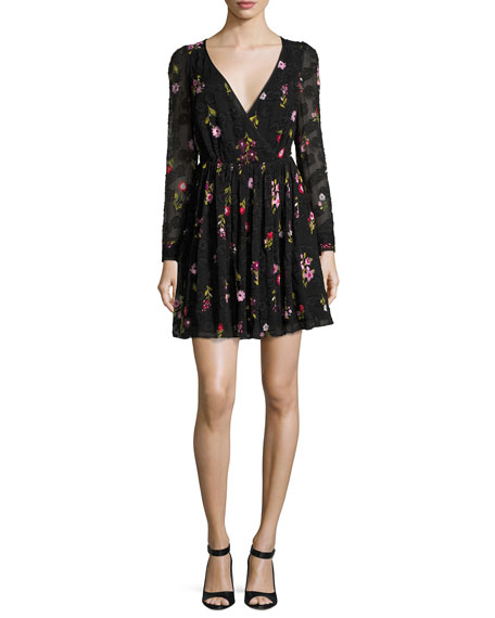 in bloom floral-embroidered burnout mini dress
