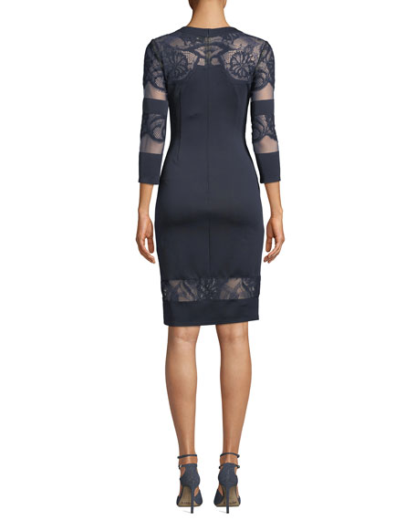 Round-Neck Neoprene Cocktail Dress w/ Lace & Fringe Detail