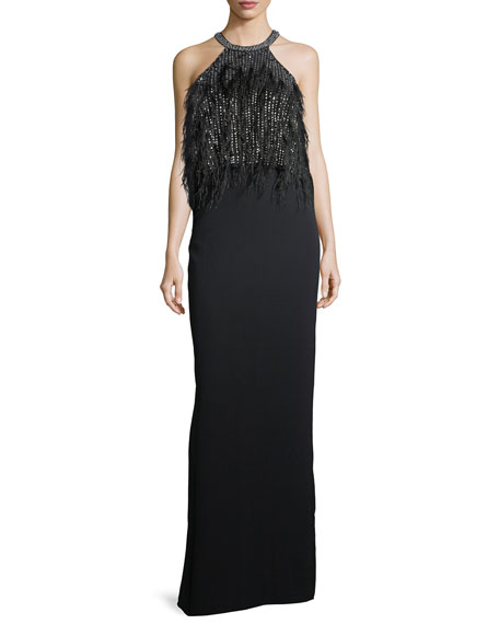Parker Black Dominique Halter Beaded Feather Evening Gown