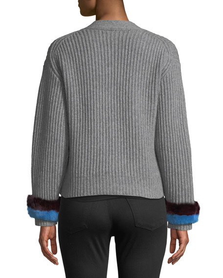 Knox Button-Front Cashmere Sweater w/ Fur Cuffs