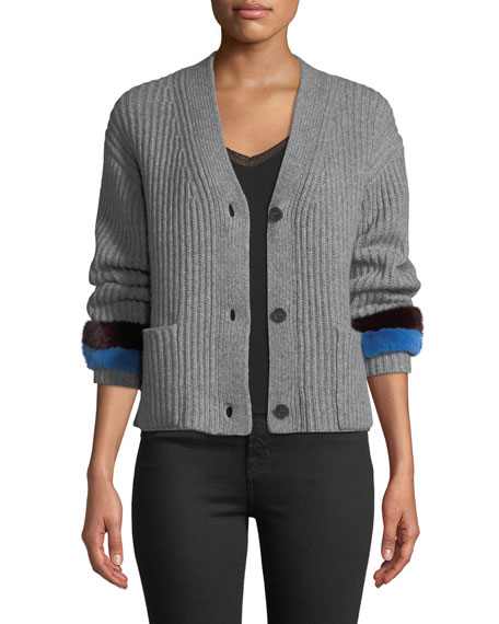 Kule Knox Button-Front Cashmere Sweater w/ Fur Cuffs