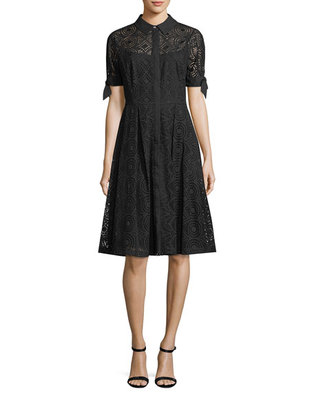 Rickie Freeman for Teri Jon Button-Down Fit-and-Flare Eyelet