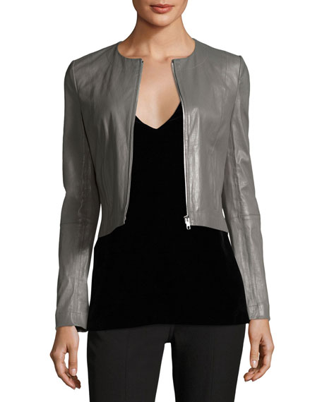 Elizabeth and James Helen Long-Sleeve Cropped Leather Moto