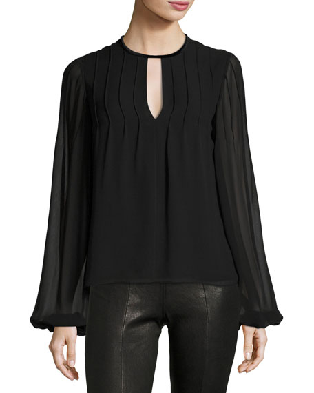 Dante Jewel-Neck Long-Sleeve Pintucked Silk Blouse