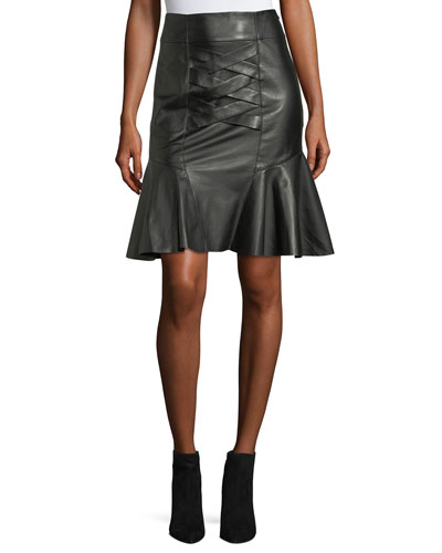 Lace-Up Peplum Lamb Leather Skirt