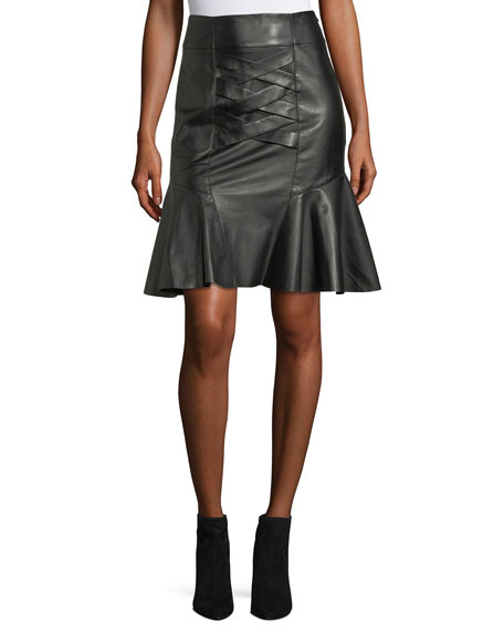 Derek Lam 10 Crosby Lace-Up Peplum Lamb Leather