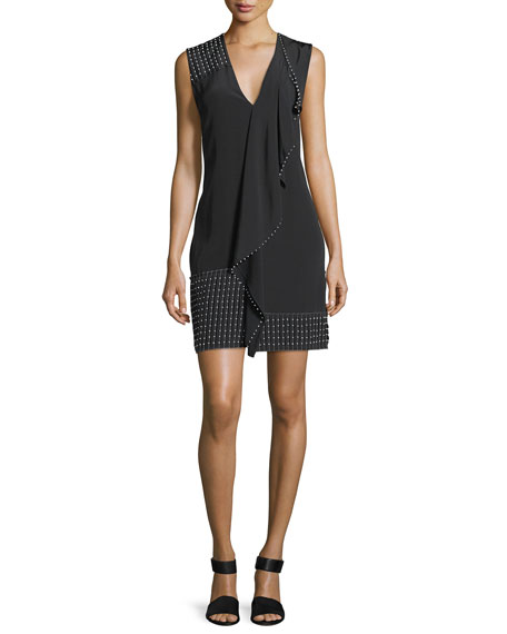 Derek Lam 10 Crosby Sleeveless V-Neck Cascade Dress