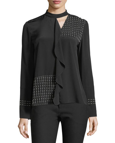 Mock-Neckline Long-Sleeve Beaded Pleated Silk Blouse