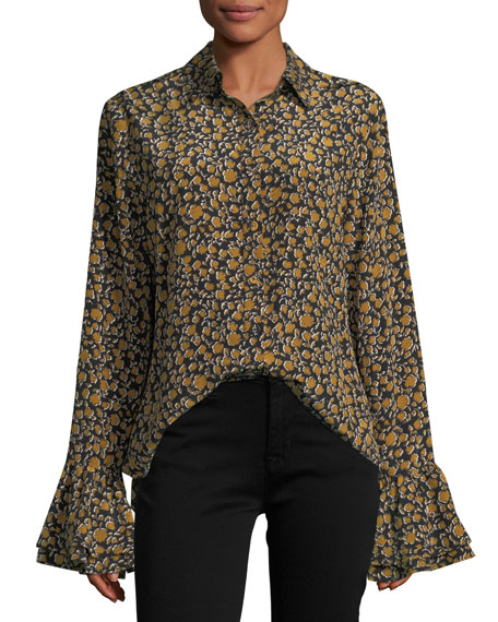 Derek Lam 10 Crosby Long-Sleeve Button-Front Printed Blouse