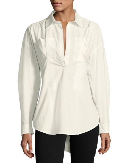 Big Discount Sale Online Derek Lam 10 Crosby Woman Lace-up Pleated Cotton-poplin Shirt White Size 6 Derek Lam Cheap Sale 2018 New Where To Buy FjUVlu