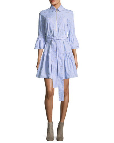 Embroidered Bell-Sleeve Striped Poplin Dress