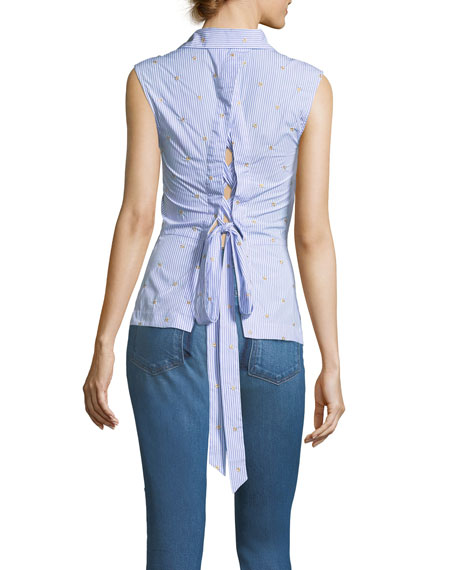 Embroidered Striped Sleeveless Lace-Up Back Poplin Shirt