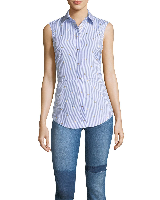 2460c1da6598f1 Derek Lam 10 Crosby Embroidered Striped Sleeveless Lace-Up Back Poplin Shirt