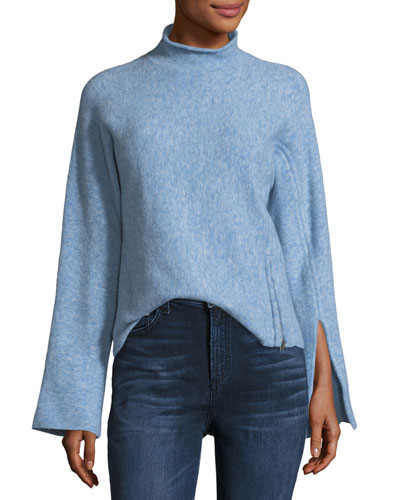 Mock-Neck Wool-Blend Long-Sleeve Sweater