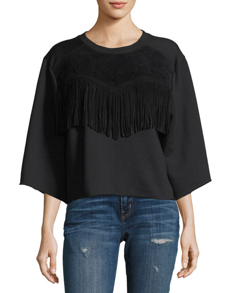 Current/Elliott The Suede Fray Popover Wide-Sleeve Cotton Top