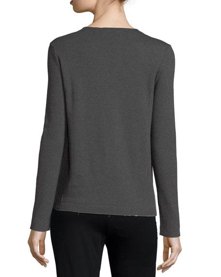 Asymmetric-Zip Knit Moto Jacket