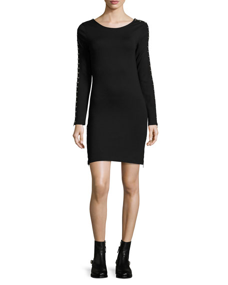 McQ Alexander McQueen Round-Neck Zip-Sleeve Fitted Short Dress