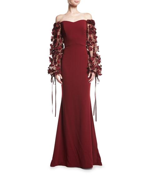 Badgley Mischka Odessa Off-the-Shoulder Crepe Evening Gown w/