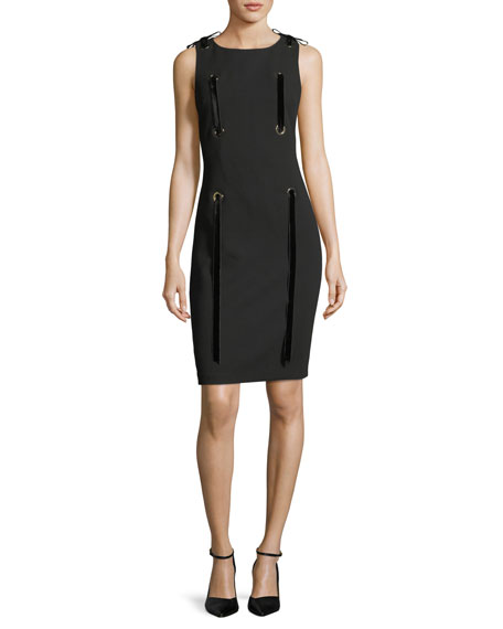 Badgley Mischka Grommet Ribbon Sleeveless Sheath Mini Dress