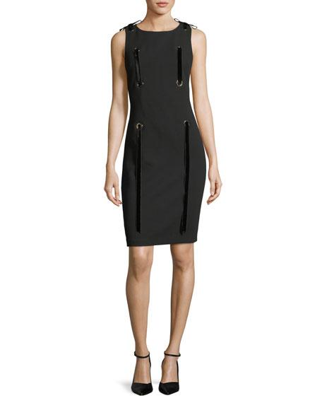 Grommet Ribbon Sleeveless Sheath Mini Dress