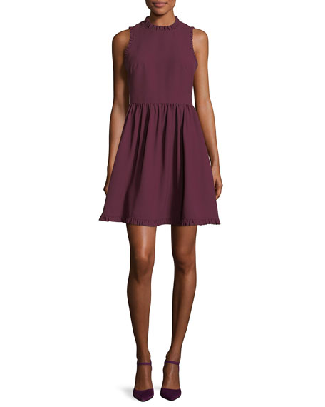 fit-and-flare ruffled sleeveless day dress