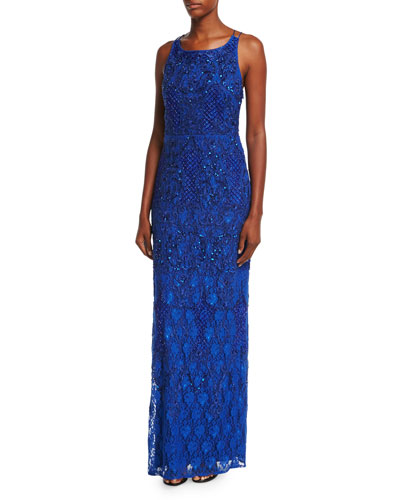 Sleeveless Beaded Lace Column Gown