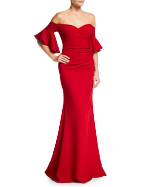 Badgley Mischka Collection Off-the-Shoulder Ruched Crepe Evening Gown 85788c7831
