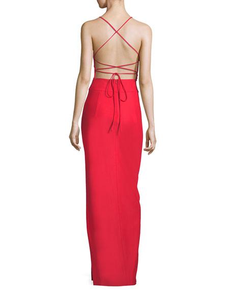 McKenna Tech Stretch V-Neck Strappy-Back Evening Gown