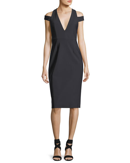 Milly Fiona V-Neck Tech Stretch Cocktail Dress