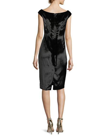 Mandy Panne Velvet V-Neck Cocktail Dress