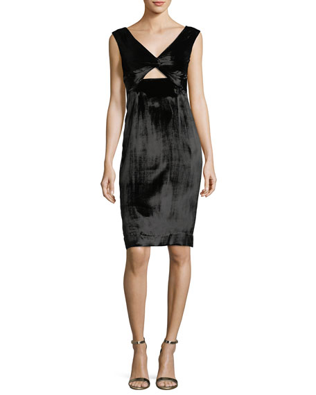 Milly Mandy Panne Velvet V-Neck Cocktail Dress