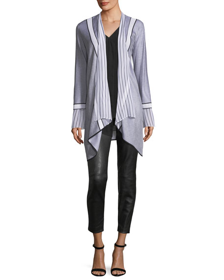 Two-Tone Textural Knit Cardigan