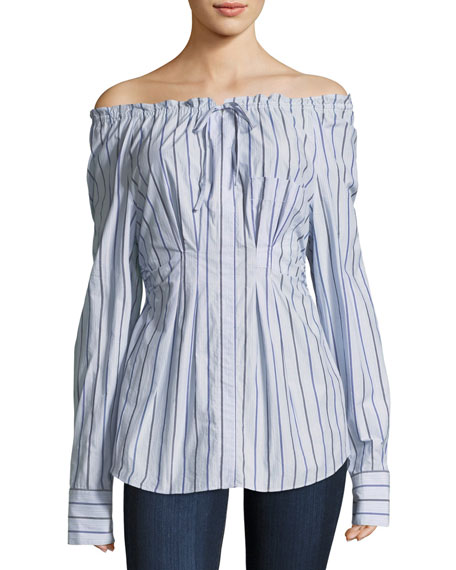 Tibi Garcon Off-the-Shoulder Striped Shirred Poplin Top