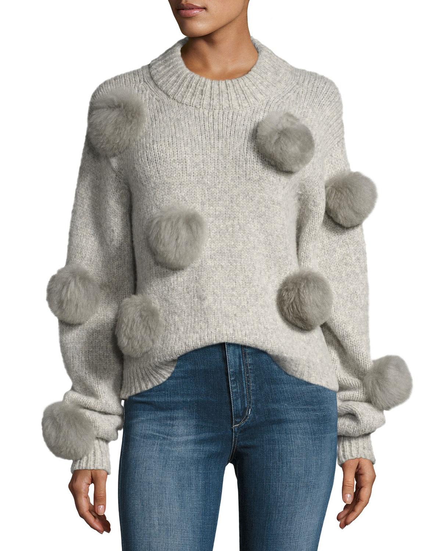 Tibi Alpaca Pompom Round Neck Pullover Sweater Neiman Marcus