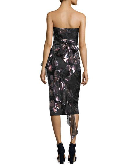 Sasha Strapless Floral-Metallic Organza Asymmetric Cocktail Dress